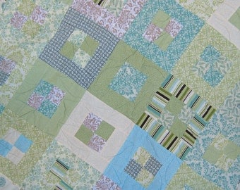 48 x 70 inches-Lap Quilt-Sea Glass Blues and Green in Pandora Box Pattern