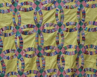Vintage Quilt Top Yellow Double Wedding Ring Feedsack Antique Quilt Top Unfinished Quilt Patchwork Quilt Patchwork Quilts Handmade Quilt