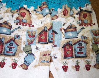 Birdhouses and More  Crocheted Hanging Kitchen Towels - set of 2 - Very cute and colorful
