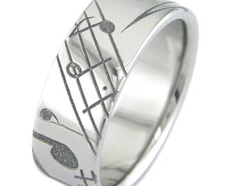 Music Laser Carved Titanium Ring