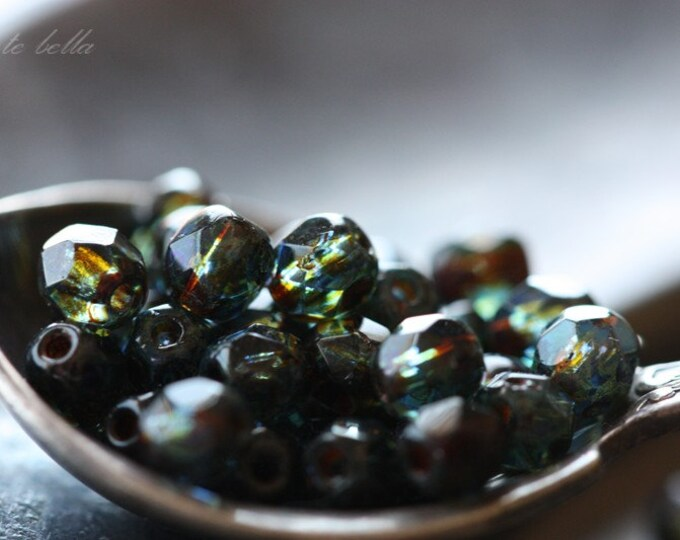 sale .. SAPPHIRE BITS .. 50 Picasso Czech Glass Beads 4mm (3357-st)