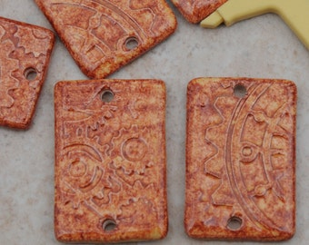 2 Large Flat Rectangle Beads in Autumn