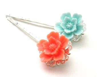 Coral and Teal, Flower Bobby Pins, Summer Trends, Pastel, Under 10, Stocking Stuffer, Gifts for Her