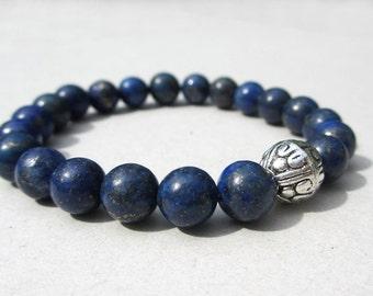 Gemstone Beaded Stretch Bracelet - Genuine Lapis Lazuli and Tibetan Silver