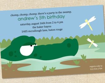 Sweet Wishes Boys Alligator Swamp Birthday Party Invitations - PRINTED - Digital File Also Available