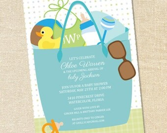 Sweet Wishes Boys Beach Bag Baby Shower Invitations - PRINTED - Digital File Also Available