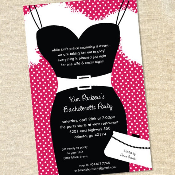 Sweet Wishes Little Black Dress Bachelorette Party Invitations