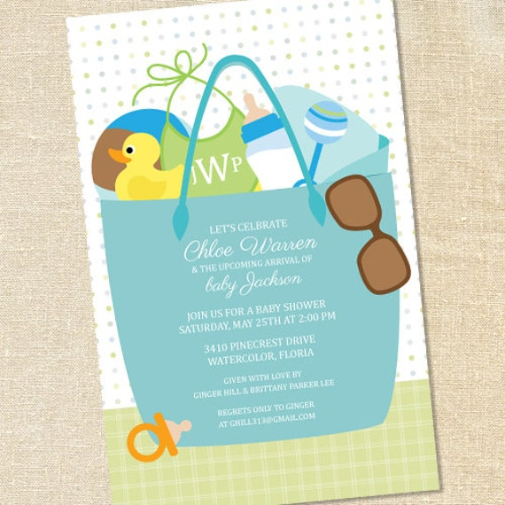 sweet wishes boys beach bag baby shower invitations printed