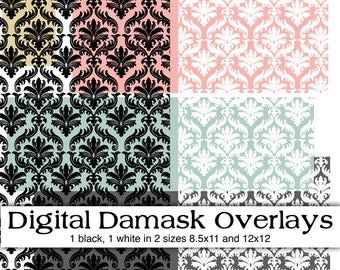 Digital Damask Overlay. Instant Download. Digital Scrapbooking. Personal and Limited Commercial Use.