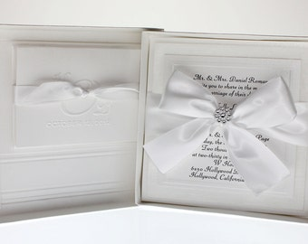 Couture Bow -  Wedding Invitation, Boxed Invites, Black Tie Wedding, White  -  Classic Invite,  Traditional Invite - Set of 50