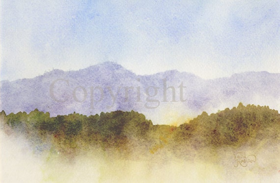 Misty Morning Foggy Mountains Original Watercolor Painting
