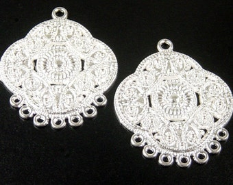 CLEARANCE Earring Chandelier 8 Pendant Charm Shiny Silver Bright 7 Dangle Holes Flat 32mm NF (1037pen32s1)os