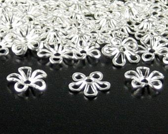 Silver Bead Cap 100 Shiny Silver Flower Victorian 5-Petal 9mm (1127cap09s1)xz
