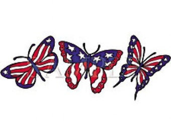 Butterfly Patroitic Red White Blue Flag USA  4th of July Women's Tee Shirt Sizes Small thru 3XL Plus Sizes Too T Americana FREE SHIPPING New