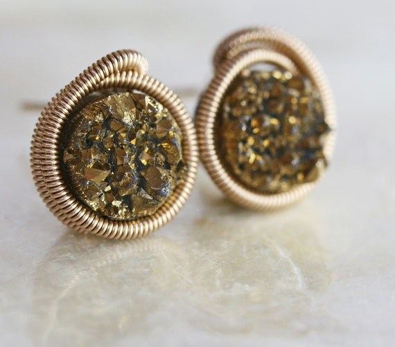 Druzy Stud Earrings - Gold Druzy Stud Earrings -
