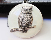 Silver Owl Locket Necklace, Pearl White Resin, Color, Brass, Vintage, Rotsina