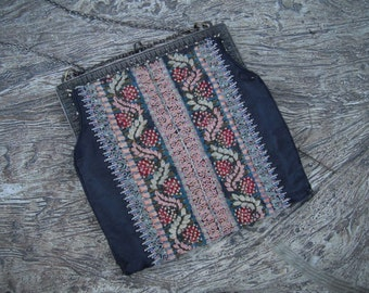 1920s Flapper  Beaded & Embroidered Purse, 1920s Purse, Art Deco Purse