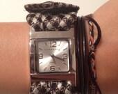 Black & White Checkered Necktie Wristwatch