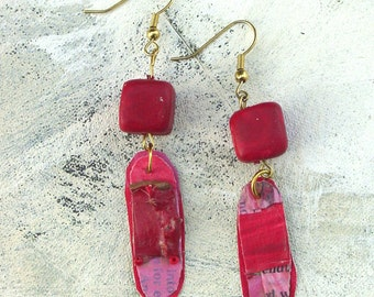Pink and red dangle earrings upcycled palette in spring colors