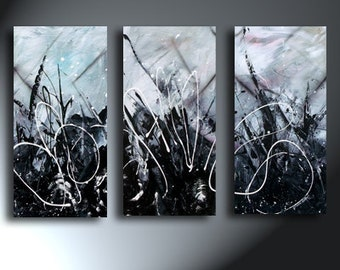 Abstract Modern Black White 3 Canvas Set  Original Artwork Some Texture Total Size 35x30 Silent Lucidity