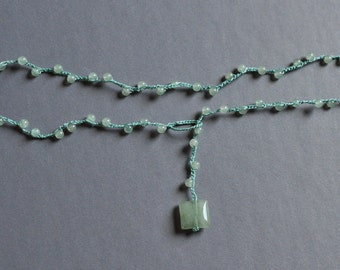Sea Green adventurine crocheted lariat necklace