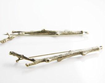 2pcs Antique Brass Tone Base Metal Brooch - Branch 82x22mm (19787Y-O-256)