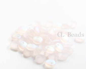 50pcs Czech Glass Beads - Lentils with One Hole- Matte Rosaline AB 6mm (MX7010) (L-105)