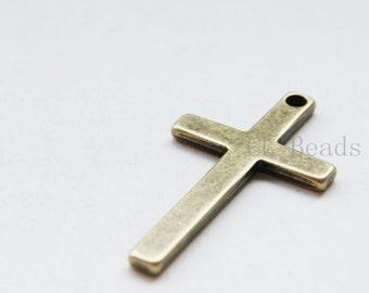 4pcs Antique Brass Tone Base Metal Pendants-Cross 52x29mm (12749Y-B-358B)