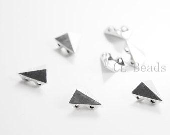 30pcs Oxidized Silver Tone Base Metal Spike Spacers-2 Holes - 11x11mm (19164Y-B-454)