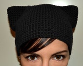 Kitty hat, cat hat, cat ears, warm wool crochet knit hat, skullcap, beanie - Made to order