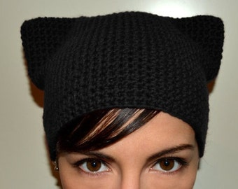 Made in Italy, italian premium wool - Minimal Kitty hat, cat ears, crochet knit hat, skullcap, beanie - Made to order