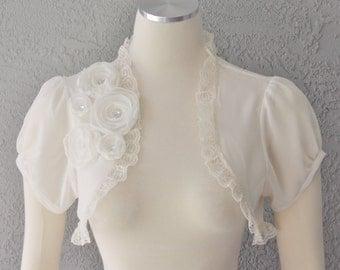 Wedding Bolero Shrug Ivory  With Flowers and Rhinestones and Lace Trim