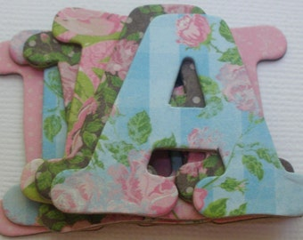 "SHABBY FLORALS - Chipboard Letters & Die Cuts: 1.5"" Tall -New Boutique Font"