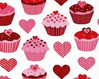 One (1) Yard- Heart Cupcake print by Pink Light Designs from Robert Kaufman Fabrics AMF-12986-1 WHITE
