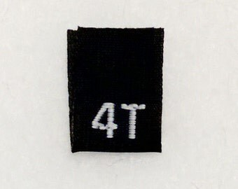 Size 4T (Four Toddler) Black  Woven Clothing Size Tag (Package of 100)