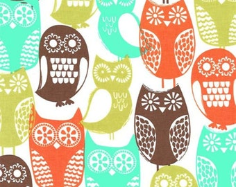 Five (5) Yards - Swedish Owls in Autumn Colors by Michael Miller Fabrics CX5439-BROW-D