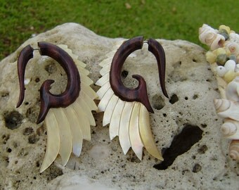 Fake Gauge Earrings ,Tribal Style, Mother of pearl, Shell, Angel wing, feather,Gold Shell,hand carved,organic