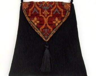 Boho Gypsy Bag  Piperscrossing Boho Bag Black Chenille Crossbody Purse
