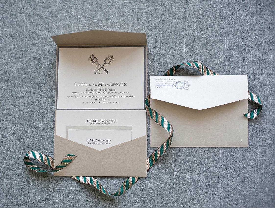 Key Themed Wedding Invitations: Champagne Gold Key Wedding Invitation Vintage Key Gray