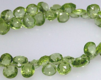 Peridot briolette bead strand, fine quality, 7 inches, over 70 beads                         1063-005-001