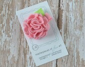 Pink Felt Carnation Flower Hair Clip - pastel pink - SMALL scallop carnation style - felt hair clip - felt flower hair bow - clippie