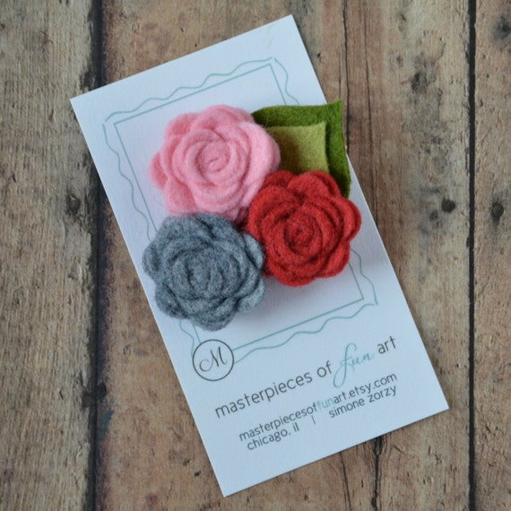 Three Small Felt Flowers Hair Clip - Strawberry Red, Charcoal Grey, Light Pink - Perfect for Spring and Summer
