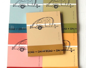 PAINT CHIP MATCHBOOK notepads Set of 5 Campers in earth tones