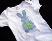 Easter Bunny Applique Bodysuit with Initial