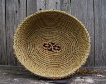 Coiled Pine Needle Basket-two walnut shells in bottom creates a slight oval shape.