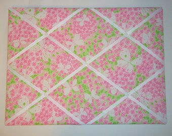 New memo board made with Lilly Pulitzer Pink Gossip fabric