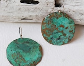 "satellite dish earrings - small 1.5"" - oxidized copper"