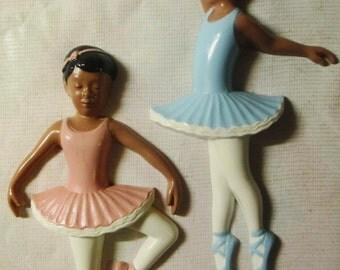Pair of African American Burwood Ballet Dancer Wall Hangings