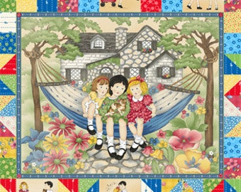 CLEARANCE FABRIC Little DARLINGS Childs Play Quilt Panel
