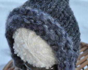 Newborn Prop Pixie Hat - Chunky Knit Baby Photo Hat - Charcoal Grey Newborn Baby Pixie Hat with Charcoal Gray Fringe